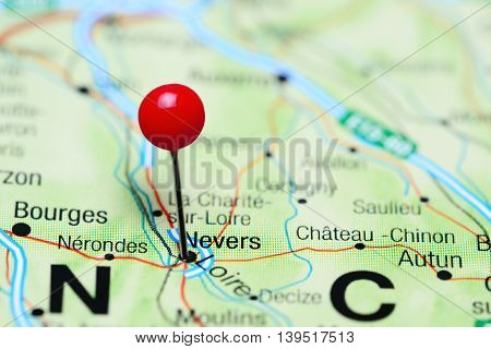 Nevers pinned on a map of France