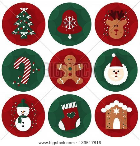 Vector set of flat Christmas icons, holiday element