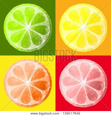 slices of citrus fruits isolated on a colored background, polygonal design low poly style.