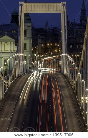 view of the Erzsebet bridge at Budapest Hungary