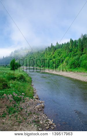 Beautiful cloud, forests, mountain near river in Ukraine