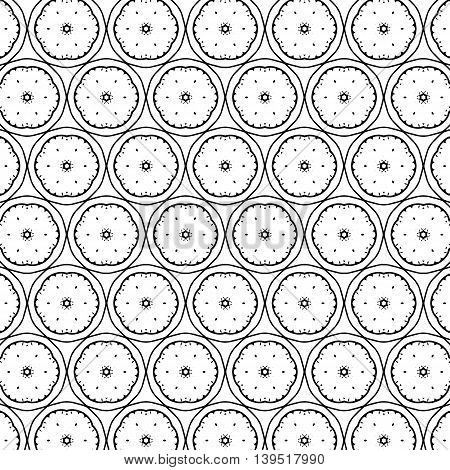 Black white pattern with modern abstract elementary ornaments.