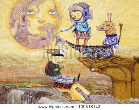 The surreal painting on a wall in Kaunas city (Lithuania).