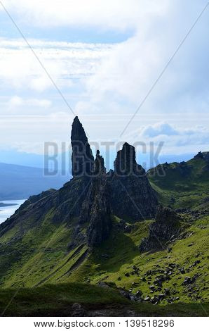 Gorgeous vista views of the Old Man of Storr on the Isle of Skye.