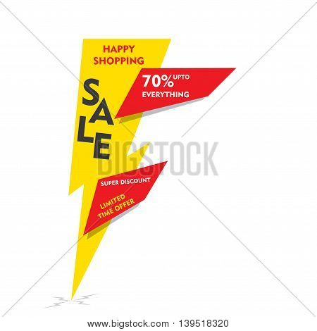 happy shopping , limited time offer sale on  everything banner  design vector
