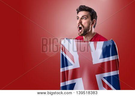 Athlete holding the flag of UK