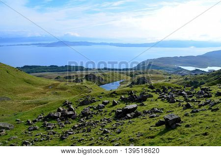 Elevated lakes as seen from the Old Man of Storr in Scotland.