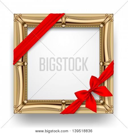 Classic gold square frame with a red ribbon and bow isolated on white background. Presentation sign and poster. 3D illustration. Contains the Clipping Path
