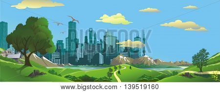 Panorama. Landscape - the view from the hill to the modern city. Vector illustration
