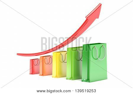 Growth red arrow with shopping bags profit concept. 3D rendering isolated on white background
