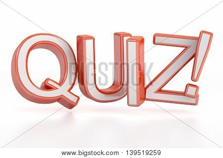 Quiz! 3D rendering isolated on white background