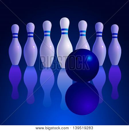 Bowling ball rolling on the track. Vector illustration