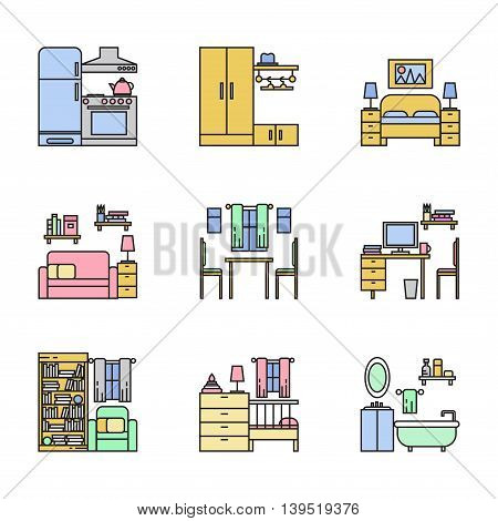 Room interior line thin art vector collection