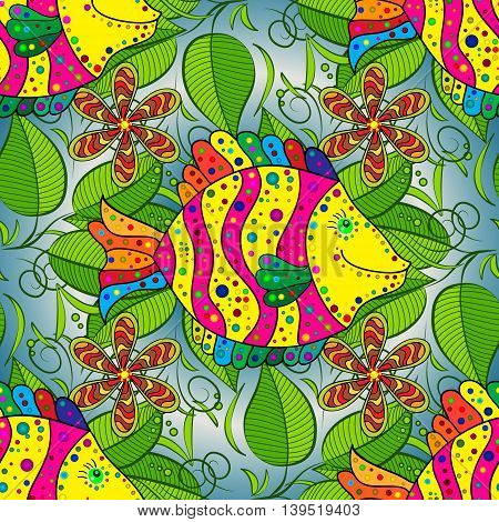 Seamless pattern with colorful fish on dark gradient blue background. Vector illustration.