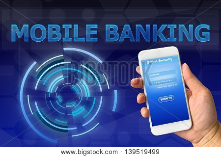 Woman hand holding smartphone with secure login against digital blue background MOBILE BANKING concept