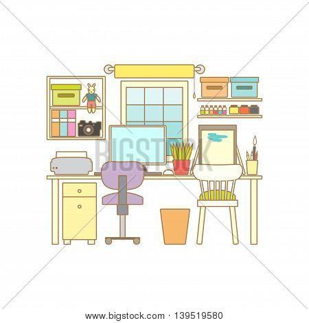 Home Workplace. Cabinet interior. Workspace with desktop computer. Vector line illustration. Flyer shop template.