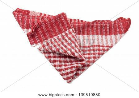 Kitchen red and white towel isolated on white background