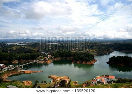 Panoramic view of the city of Guatapé, Colombia