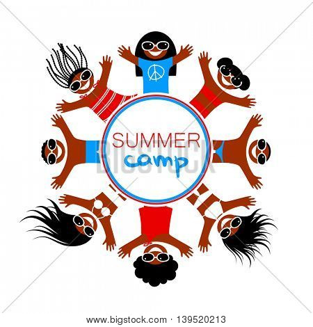 Summer camp. Logo Design Template. Happy children of different nationalities rest on the sea beach. Vector illustration.