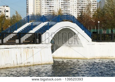 bridge with blue railings across the pond in the park
