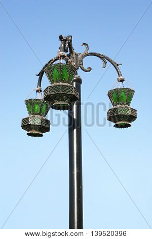 Beautiful street light in Egypt, made antique