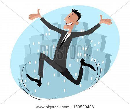 Vector illustration of a funny businessman runs