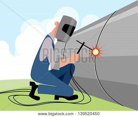 Vector illustration of a welder welds pipe