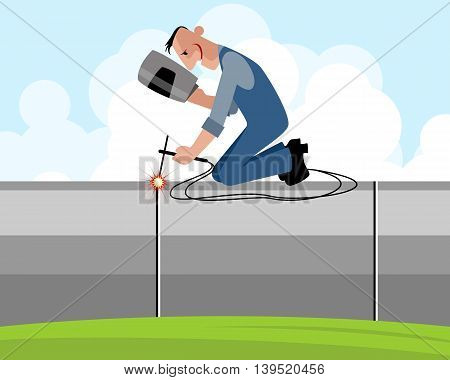 Vector illustration of a welder on pipe