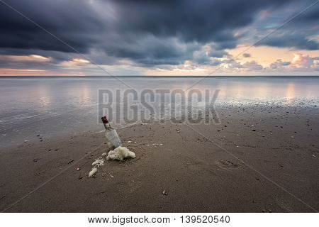 Message In A Bottle At Stormy Sea