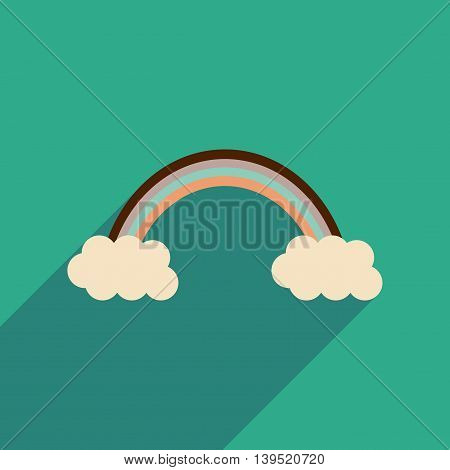 Flat web icon with long shadow rainbow