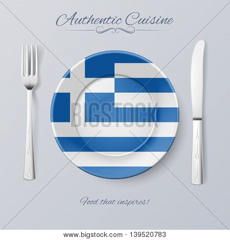 Authentic Cuisine of Greece. Plate with Greek Flag and Cutlery