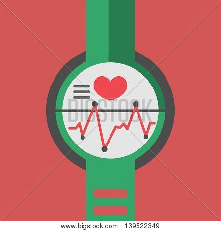 Smart watch technology with sport fitness tracker applications. Heart beat monitor. Healthy lifestyle outdoor running. Modern design with icons. Eps10 vector illustration.