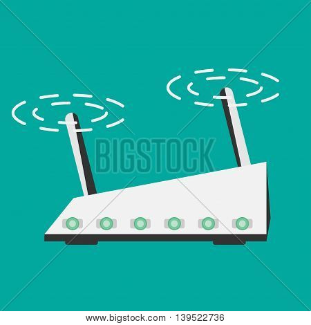 Wireless Router Isolated on blue background flat style