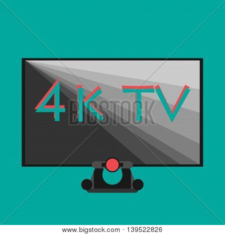 4k tv black on flat style color background smart