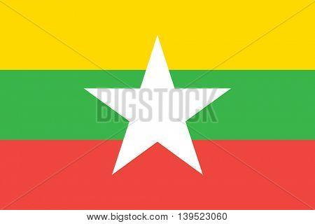 Vector Burma Myanmar flag