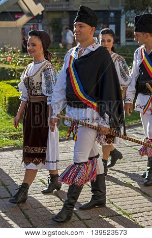 ROMANIA TIMISOARA - JULY 7 2016: Dancers from Romania in traditional costume present at the international folk festival