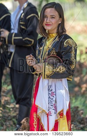 ROMANIA TIMISOARA - JULY 10 2016: Young girl from Turkey in traditional costume present at the international folk festival