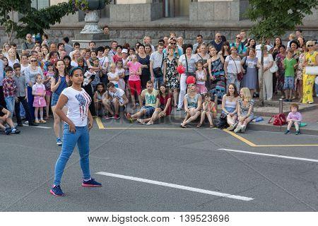 Kiev Ukraine - June 19 2016: Girl takes part in competitions in dancing on Khreschatyk Street