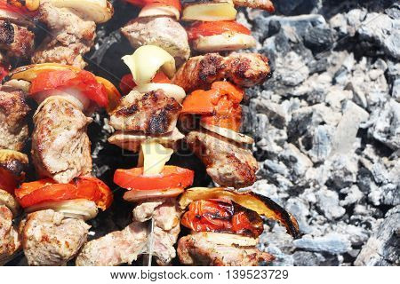 Meat and vegetables frying on a grill on a background of the ash
