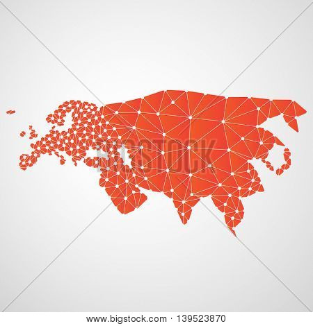 Abstract Polygonal Map of Eurasia with Digital Network Connections - Minimal Modern Style Technology Background, Creative Design Illustration Template