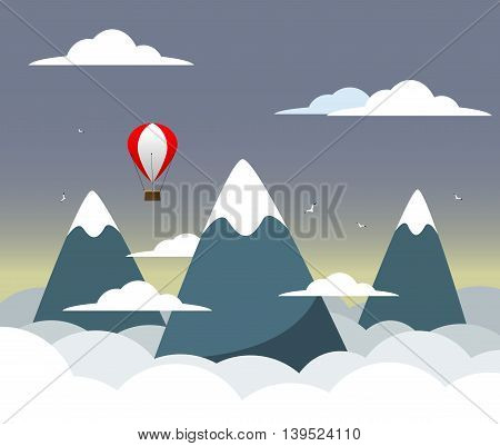 Flat design modern vector illustration concept with mountain peak, meaning overcoming difficulties, goal achievement, strategy for winners and focusing on results. Vector