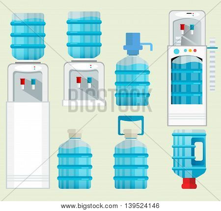 Vector icons of water cooler appliance. Water jug with faucet, full bottles and other elements. Flat business design.