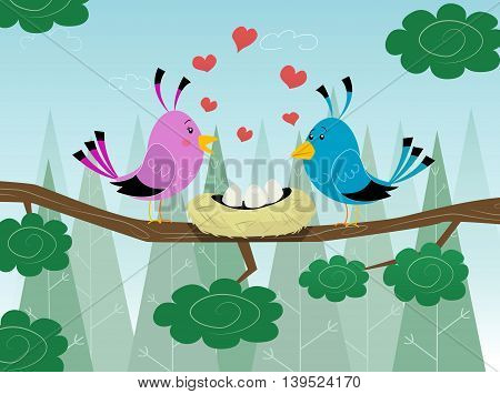Couple of birds in love with socket and hearts around. Cute illustration.