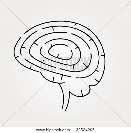 Vector illustration of brain maze. Intelligence concept