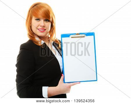 Business education and advertisement concept. Redhair woman holding blue clipboard with empty blank. Isolated on white background