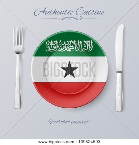 Authentic Cuisine of Somaliland. Plate with Flag and Cutlery