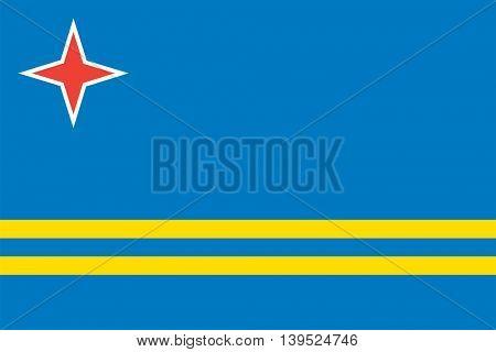 Vector Aruba flag Caribbean island flag