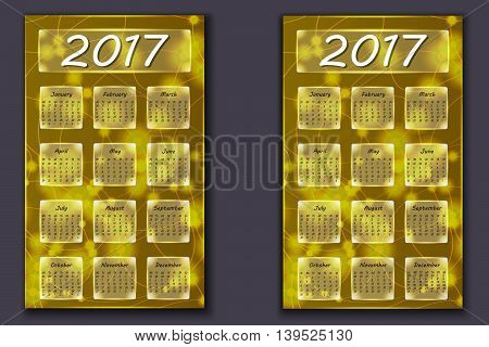 Two Calendars With Abstract Bokeh Background In 2017 Year
