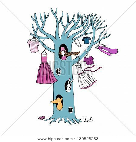 Magic tree with clothes. The fox hare and the girl. Vector illustration.