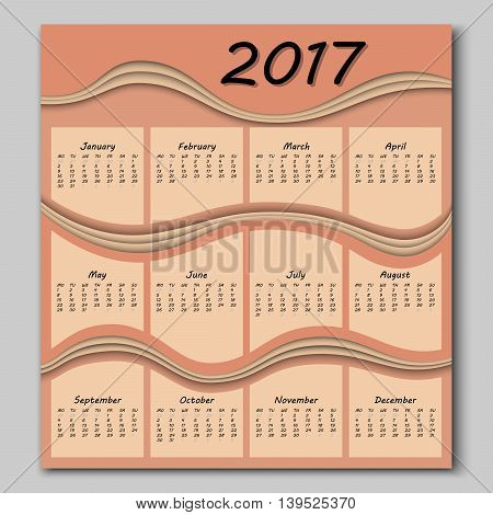 Abstract Waves Calendar 2017 Year